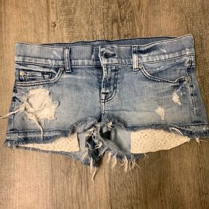 7 Jean Ripped Shorts. Hanging Lace Pockets.